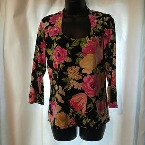 Black and pink floral top